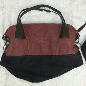 Handbags - Burgundy Black Large Hobo Multi-purpose Canvas Bag